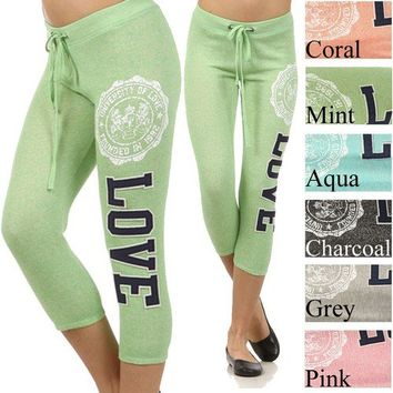 Plus Size LOVE Capri Sweatpants Lounge Jogger Bottom Sweat Yoga Fitness 1X 2X 3X