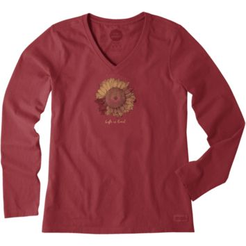 Women's Sunflower Long Sleeve Crusher Vee