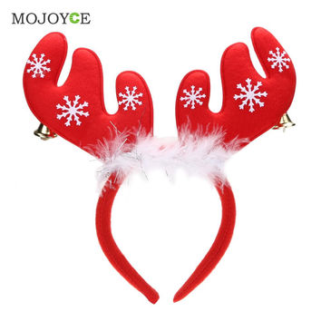 Christmas Bell Feather Hair Accessories Headband Decorations Antlers Christmas Headband Party Hairband Girls Hair Accessories SN9
