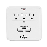 Bestten Charging Center-Wall Mount Surge Protector with 4.2A Four (4) USB Charging Ports, 3 AC Outlets and 2 Slide Out Phone Holders, ETL Certified