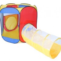 Six Sided Hexagon Twist Play Tent w/ Sunshine Crawl Tunnel & Safety Meshing for Child Visibility