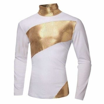 2016 New Mens Shiny T-Shirt Night Club Wear Slim Fit Fashion Long Sleeve Gold Tshirt High Quality Mens Party Clothes Turtleneck