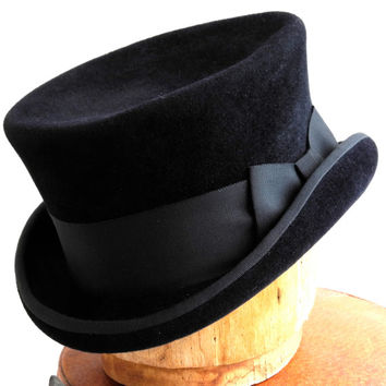 Top Hat- Black Top Hat- Victorian Riding Hat- Men- Women- Fall Fashion