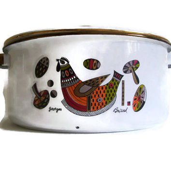 Mid Century Georges Briard, Enamel Cooking Pot, Soup Pot, Rooster, Mushrooms, Signed, Home Decor, Enamelware, Vintage Kitchen,