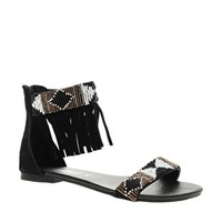 New Look Fringed Bead Black Cuff Flat Sandals