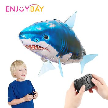Enjoybay Remote Control Shark Toys Underwater RC Submarine Fish Swimming Kids Toy with USB Drone Balloons for Party Decoration