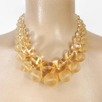 Vintage 50s Bead Necklace | 1950s Clear Peach Necklace | Choker Necklace | Statement Necklace | Mid Century Necklace | Vintage Jewelry