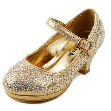 Dana-53k Little Girl Mid Heel Rhinestone Pretty Sandal Dress Shoes (2, Gold)