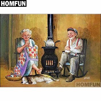 5D Diamond Painting Elderly Couple by the Stove Kit