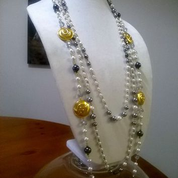 "3 Shades of Gray 44"" Designer Pearl & Crystal Necklace Set"