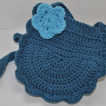 Girls Blue Small Crochet Over Shoulder Bag With Flower