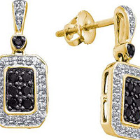 Black Diamond Fashion Earrings in 14k Gold 0.26 ctw
