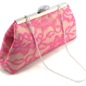 Champagne, Fuchsia Lace and Hot Pink Bridal Clutch