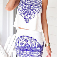 White Tile Printed Sleeveless Top And Pencil Mini Skirt