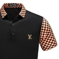 Gotopfashion LV Shirt Louis Vuitton Men Top Shirt Contrast Tartan Sleeve Neck Button Tee Shirt B-A00FS-GJ Black