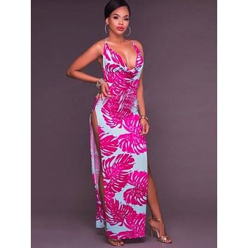 Rose Halter Backless Women's Maxi Dress