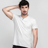 Summer Casual Simple Design Short Sleeve Men Strong Character Cotton V-neck Tops T-shirts [6544065795]