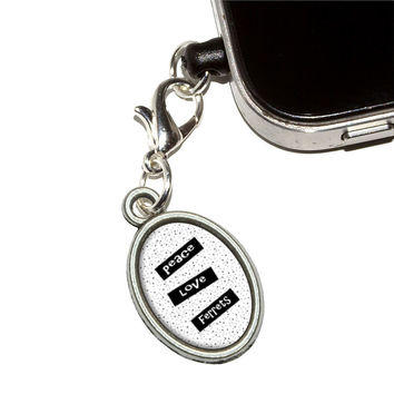 Peace Love Ferrets Mobile Phone Charm