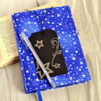 A5 black pages handmade notebook Fabric diary notebook Star notebook Space journal Cosmos notebook Sketch book Black paper Silver pen