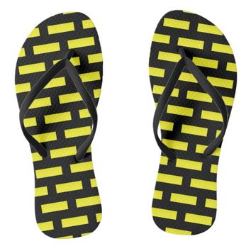 Wall Pattern Black and Yellow Flip Flops