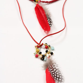 AMAZON long layered polka feather red beads necklace,natural feather boho hippie beaded necklace with circle and colorful beads pendant
