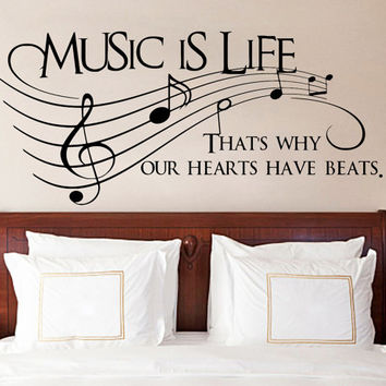 Music Is Life That's Why Our Hearts Have Beats WordsText Quote Vinyl Wall Sticker Decor Art Removable Decal. DIY Mural!