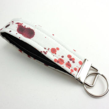 Blood Splatter Key Chain ,Fabric Key Fob,zombie Key Strap- Red and White