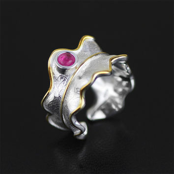 Lotus Exclusive Handmade Jewelry Very Unique Leaf Design Ring For Women With Natural Stone 925 Sterling Silver anel