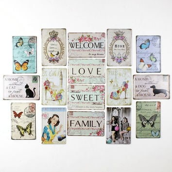 Retro Mix Live Love Laugh A Home without a Dog Cat House Family Love Cupcakes Butterflies Vintage Art Sign Wall Decor 20x30cm