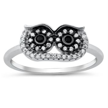 Owl Ladies Ring Size 5-10 Big Eyes in Sterling Silver and CZ