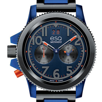 ESQ Movado Fusion Dual Time Mens Watch - Blue Aluminum/Gray IP Case and Bracelet