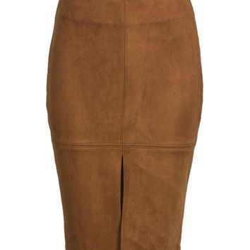 Brown Suedette Split Front Pencil Skirt