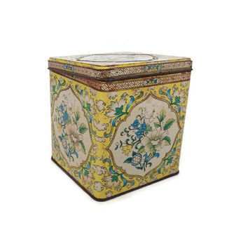 Vintage Daher Tin-Yellow Jacobean Design-Hinged Lid-Tea Tin-Metal Box-Vintage Home Decor-Blue and Yellow-Container-Shabby Chic