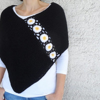 Hand Knitted Black Poncho with Daisy Flowers