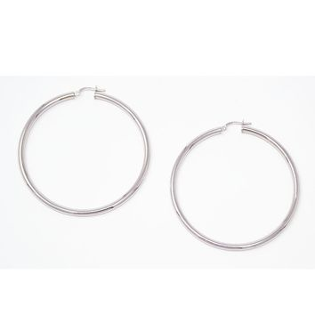 Sterling Silver Thick Rhodium-Plated Click-Down Hoop Earrings (3mm Thick), Large Sizes