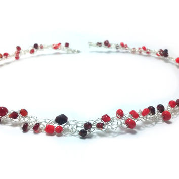 FREE SHIPPING Wire crochet necklace with glass beads: Red coral