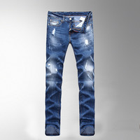 Men Summer Ripped Holes Slim Denim Pants Jeans [6528366659]