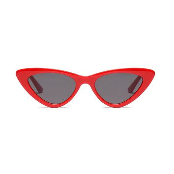 Slim Retro Cat Eye Sunglasses | Red