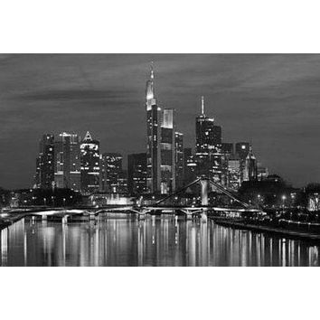 Frankfurt Skyline poster Metal Sign Wall Art 8in x 12in Black and White