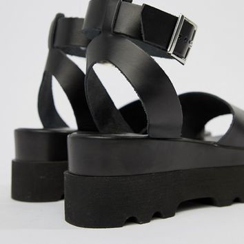 ASOS DESIGN Wide Fit Temple leather flatform sandals at asos.com