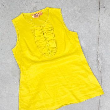 Mustard Yellow/Green Sleeveless Shirt (Tory Burch)