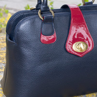BLUE NAVY LEATHER Tote Bag, Leather Handbag, Large Blue Purse, Leather Bag, Cowhide Italian Leather