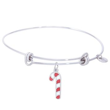 Sterling Silver Balanced Bangle Bracelet With Candy Cane W/Color Charm