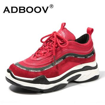 ADBOOV New Vintage Women Sneakers Trendy Leisure Platform Shoes Cross-tied Breathable Casual Shoes Woman Zapatillas Mujer