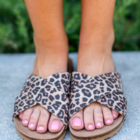 Keep It Up Slide Sandals, Cheetah