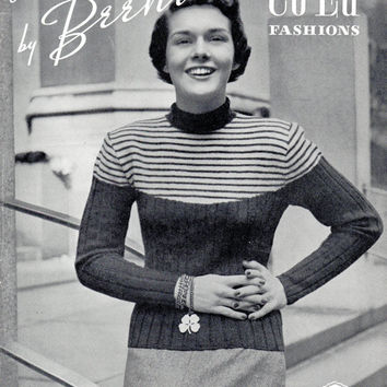 1940s 50s Hand Knits Beehive Co-Ed Fashion Knitting Pattern Booklet Vintage Retro Sweaters Wrap Front Off Shoulder Pullover Tops
