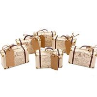 VGoodall 50pcs Mini Suitcase Favor Box Party Favor Candy Box, Vintage Kraft Paper with Tags and Burlap Twine for Wedding/Travel Themed Party/Bridal Shower Decoration