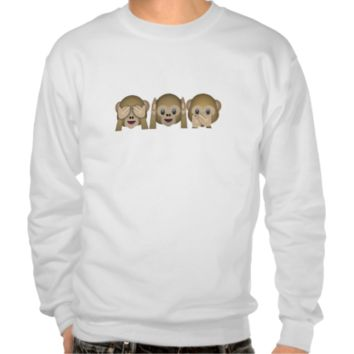Three Wise Monkeys Emoji Pull Over Sweatshirt