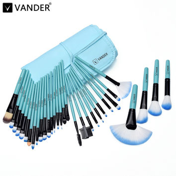 VANDER Pro 32Pcs Makeup Set Powder Foundation Eyeshadow Eyeliner Cosmetic Brushes Kit Blending Pencil Kabuki Bag(Classical Blue)