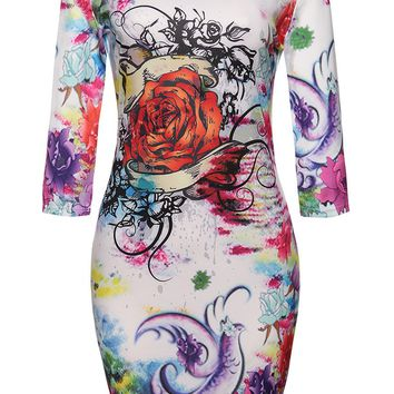 Streetstyle  Casual Round Neck Floral Printed Fantastic Bodycon Dress